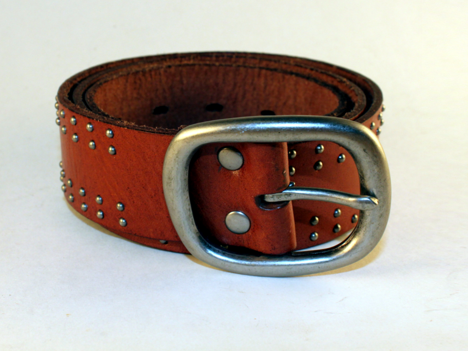 Brown leather, nickel studded belt