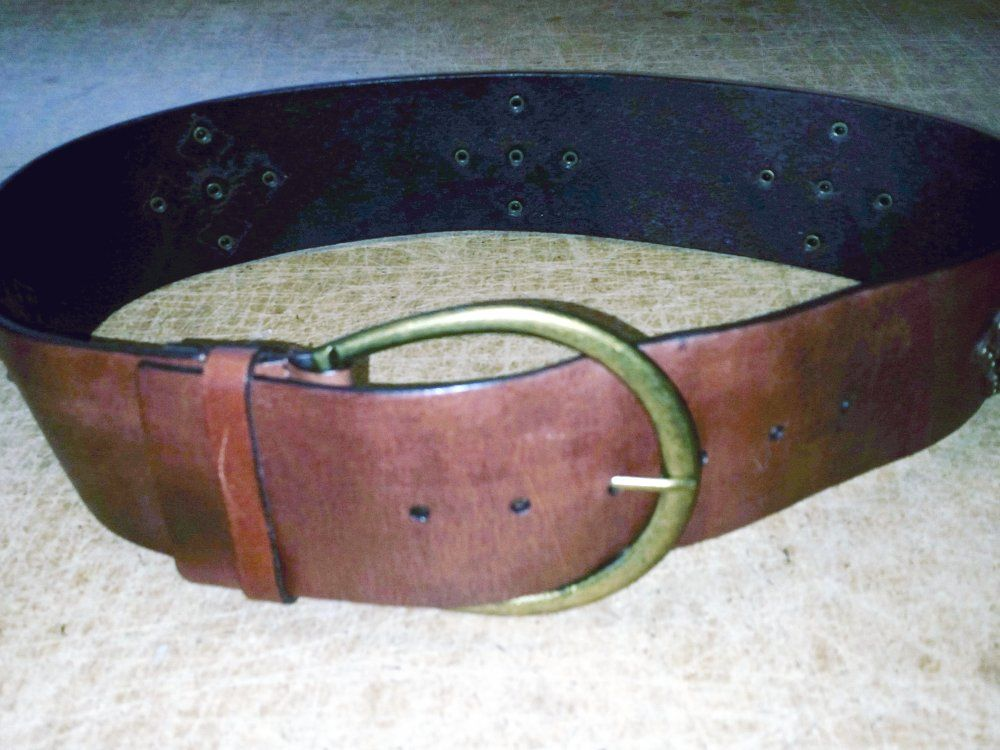 Brown leather medallion belt